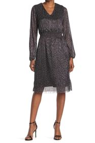 T Tahari Blouson Sleeve V-Neck Dress