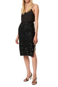 French Connection Desiree Sequined Slit Skirt