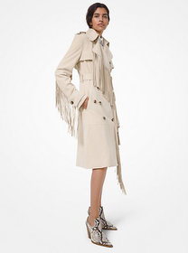 Michael Kors Suede Fringed Trench Coat