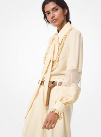 Michael Kors Silk Georgette and Lace Peasant Blous