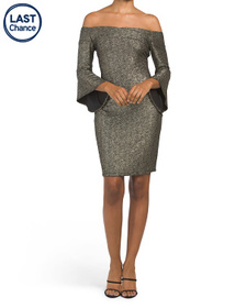 BEBE Made In Usa Metallic Knit Trumpet Sleeve Dres