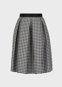 Armani Two-toned, micro-checked skirt with godet p