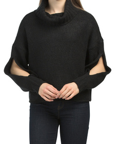 Juniors Mossy Cowl Sweater With Arm Slits