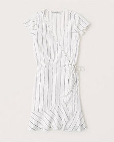 Wrap-Front Dress, WHITE STRIPE
