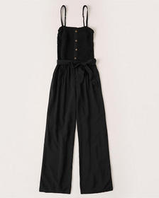 Strapless Smocked Jumpsuit, BLACK