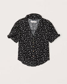 Camp Collar Button-Up, BLACK FLORAL