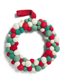 PEPPERMINT SQUARE 12in Pom Pom Wreath