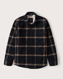 Sherpa-Lined Cozy Shirt Jacket, NAVY BLUE CHECK