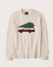 Pattern Crewneck Sweater, CREAM