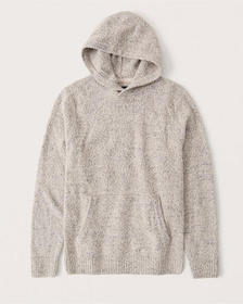 Cozy Boucle Sweater Hoodie, CREAM
