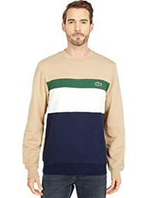 Lacoste Long Sleeve Color-Blocked Striped Crew Swe