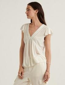 Lucky Brand Drop Needle V Neck Embroidered Top