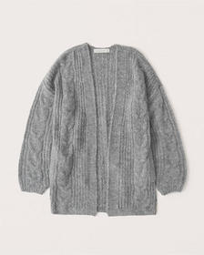 Open-Front Cable Cardigan, GREY