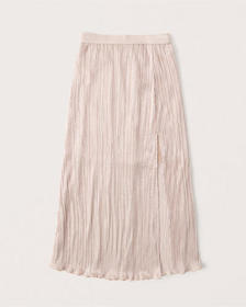 Pleated Midi Skirt, BLUSH PINK WITH SHINE
