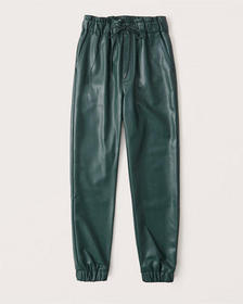 Vegan Leather Joggers, GREEN