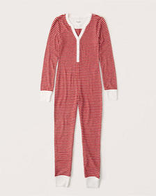 Cozy Henley Sleep Jumpsuit, RED STRIPE