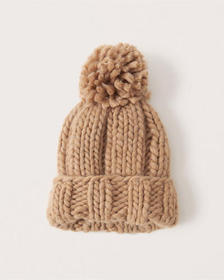 Chunky Knit Beanie, LIGHT BROWN
