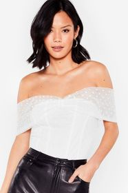 Nasty Gal White Get Spotted Mesh Off-the-Shoulder