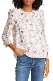 Rebecca Taylor Long Sleeve Claudine Check Top