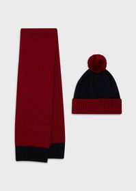 Armani Virgin wool beanie and scarf set with pom p