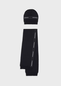 Armani Beanie and scarf set with logo tape