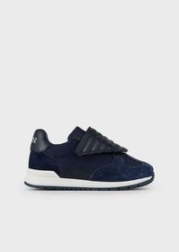 Armani Suede and mesh sneakers with eagle strap