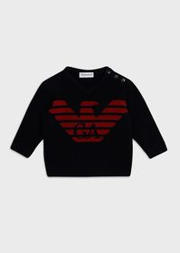 Armani Wool blend V-neck sweater with logo and but