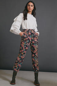 Anthropologie Anisa Floral Corduroy Joggers