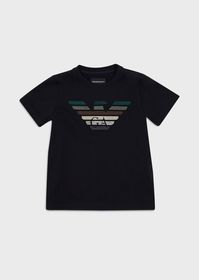 Armani Jersey T-shirt with multicoloured eagle emb
