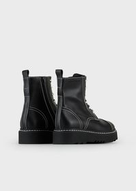 Armani Leather ankle boots with exposed topstitchi