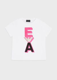 Armani T-shirt with sequinned eagle and EA print