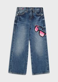 Armani Flared denim jeans with Eyeglass embroidery