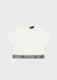 Armani Jersey T-shirt with sequinned EA logo strip