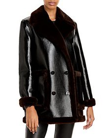 Theory - Faux Leather & Faux Fur Peacoat