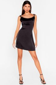Nasty Gal Black Closing in Satin Mini Dress