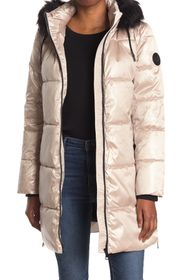 DKNY Puffer With Faux Fur Trim Hood
