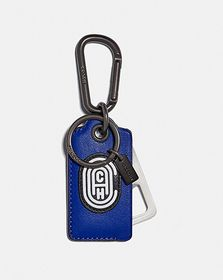 Coach bottle opener key fob with reflective coach