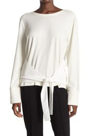 Donna Karan Self-Tie Crew Neck Sweater