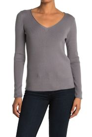 T Tahari Long Sleeve V-Neck With Rolled Edge Hem
