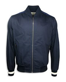 Bally - Striped Trim Regular Fit Bomber Jacket