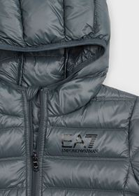 Armani Junior hooded puffer jacket with full-lengt