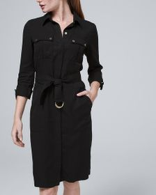 Twill Shirt Dress with Removable Belt