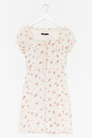 Nasty Gal White Lace-Up Your Game Floral Mini Dres