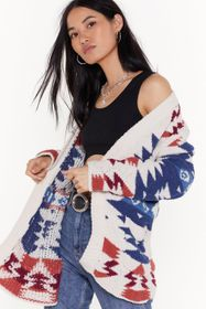 Nasty Gal Cream Knit's Never Too Late Aztec Cardig