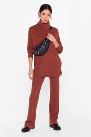 Nasty Gal Rust oversized roll neck knitted set