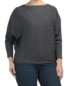 Plus Dolman Sleeve Lurex Sweater