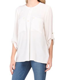 Roll Tab Two Pocket Split Neck Blouse