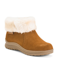Faux Fur Trim Sport Bottom Suede Boots