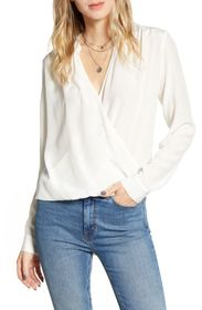 Splendid Mixed Media Surplice High/Low Blouse