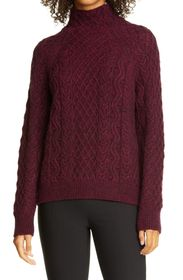 Vince Mixed Cable Knit Turtleneck Sweater